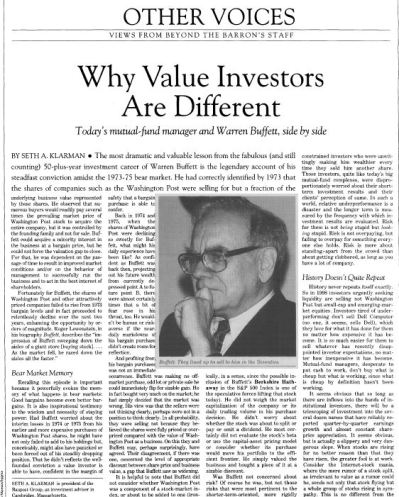 Why Value Investors Are Different