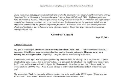Joel Greenblatt Special Situation Class